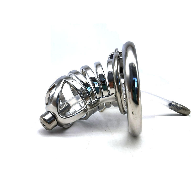 FRRK 7cm lock penis in cage with keyholder SM sex toys man metal chastity cage Male chastity device for male