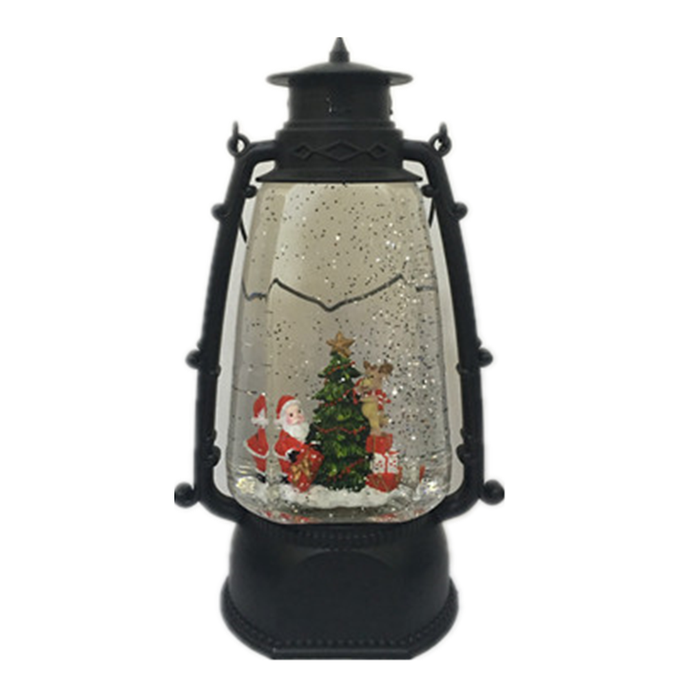 Christmas Decoration Vintage LED Lights Water Rotating Liquid Lantern with Tree Scene ornaments