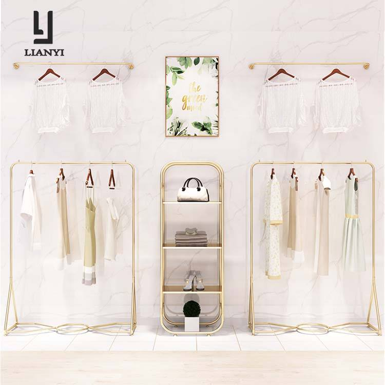 Single rail rose gold metal garment clothes display racks for department stores