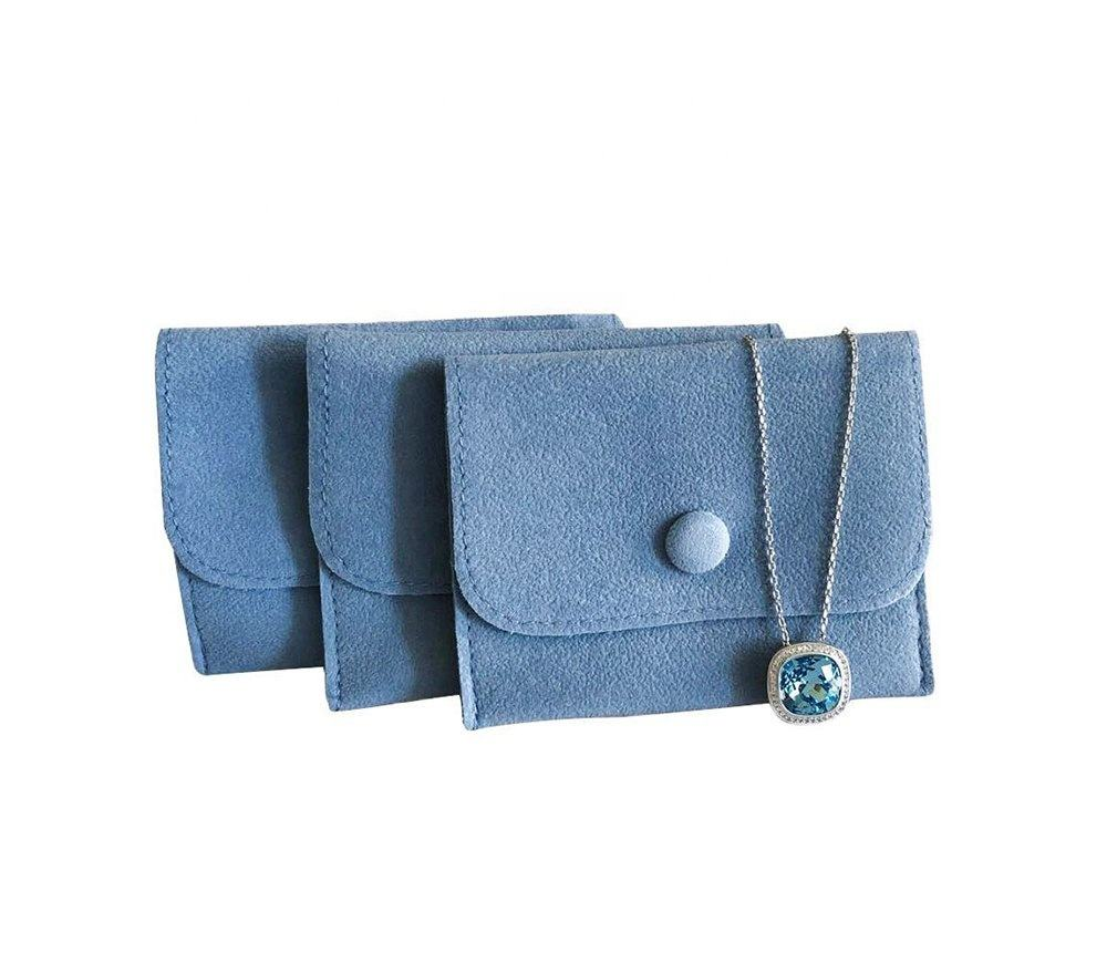wholesale custom envelope velvet leather jewelry pouch with button