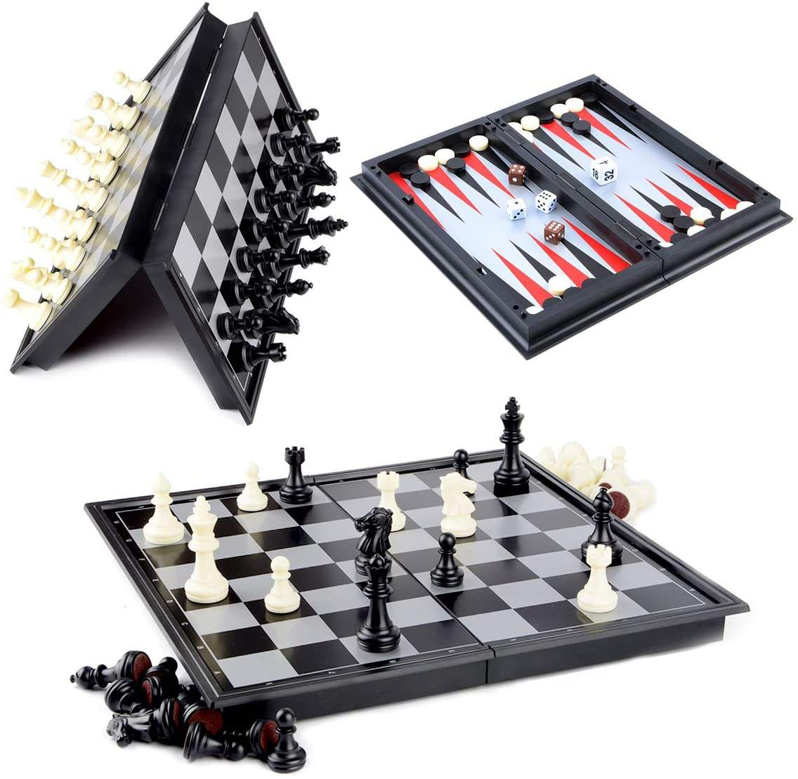 3 in 1 Magnetic Checkers Chess Backgammon Board Game Set with Folding Board Travel Games for Kids and Adults