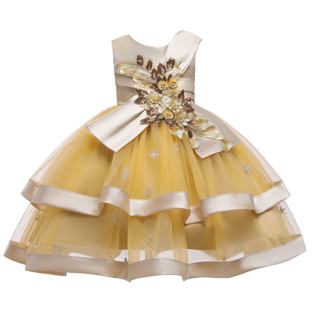 High-end temperament girl fluffy dress fairy banquet birthday dress 3D flower satin cloth costume lovely little girl 2 years old