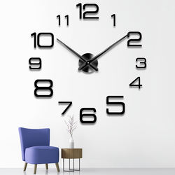 Creative diy  simple wall clock personality bedroom study  room wall decoration acrylic mirror clock