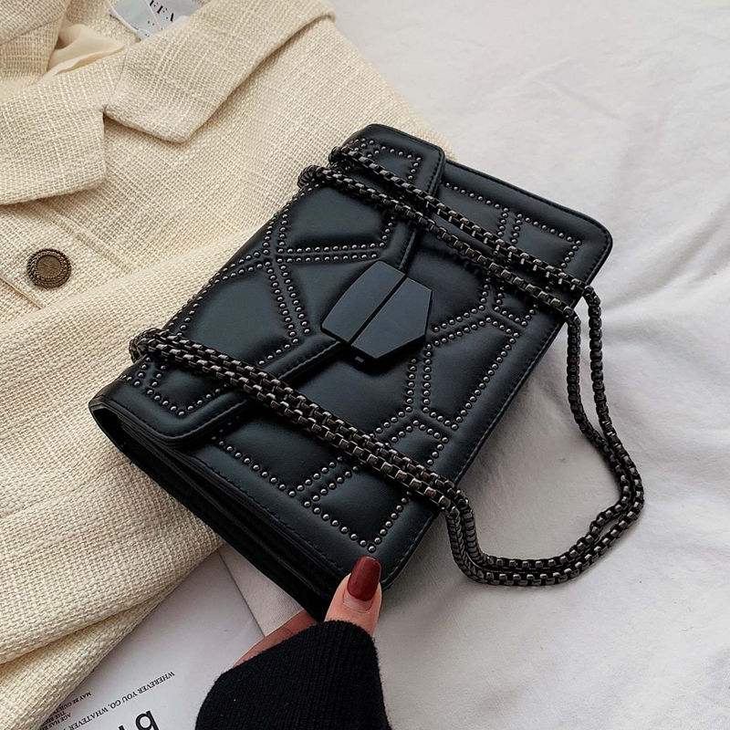 2020 Chain Crossbody Shoulder Strap Small Flap Handbags PU Leather Ladies Hand Bags Rivet Fashion Woman Bags