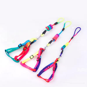High quality rainbow dog chest harness pet home traction leash dog chain nylon traction rope chest harness set for dogs