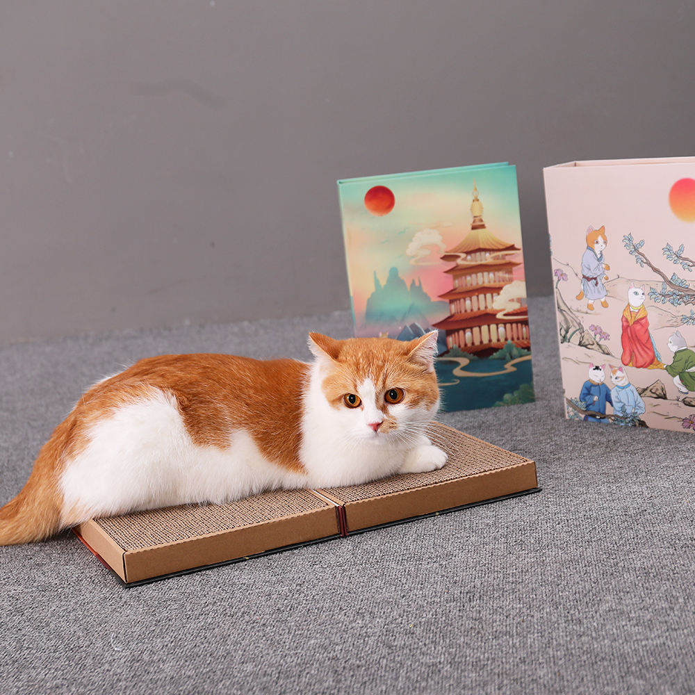 New Wholesale Foldable Book Shape Pet Supplies Cat Scratcher Scratch Pad Furniture