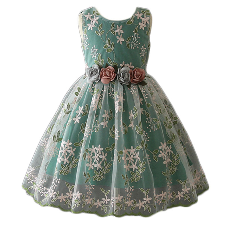 Flower girls cute sleeveless A-line printed floral pattern Baby Girl Summer Dress