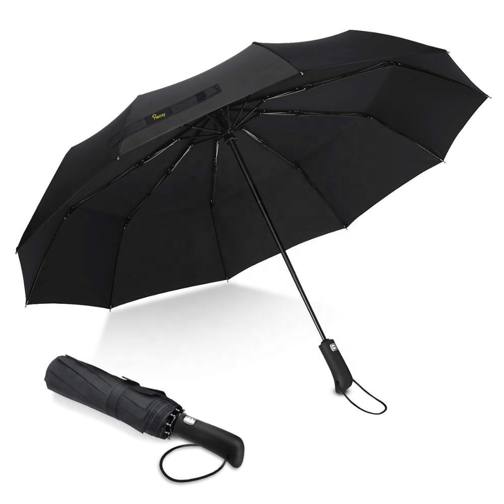 Travel Umbrella Windproof 10 Ribs Automatic Compact Folding Umbrellas Anti-Slip Handle for Men and Women