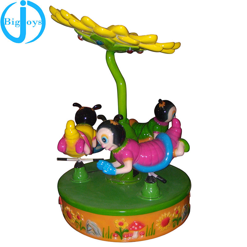coin operated ride toys,3 seats bee carousel