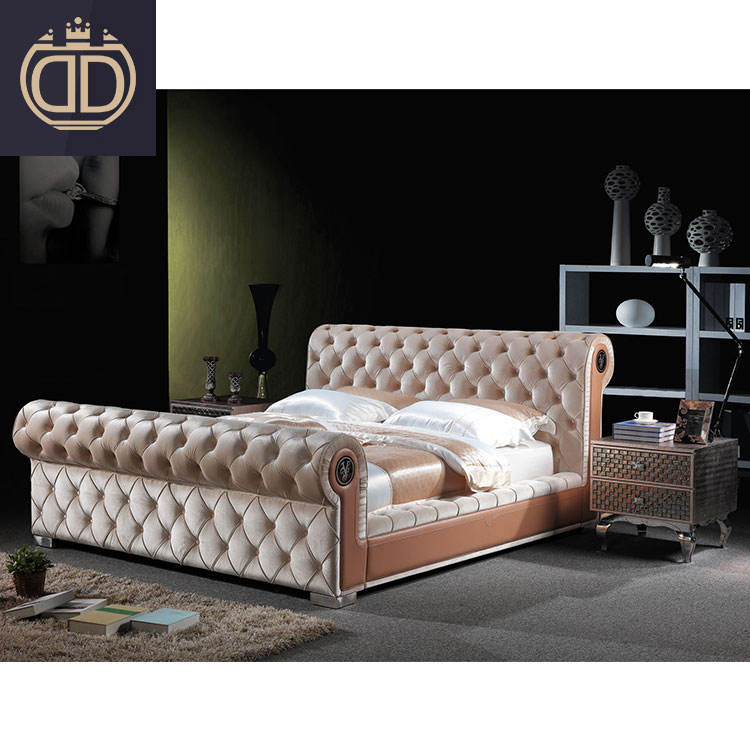double bed luxury bedroom furniture made in china simple tufted fabric modern light brown king size beds