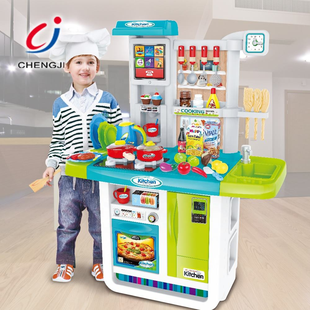 Kids cooking role play toy plastic pretend big kitchen sets with light and music