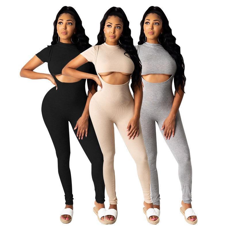 caliente traje de Yoga de manga corta de Mujeres de empalme de la Liga dos pieza mono sexy mujeres ropa plus tamaño