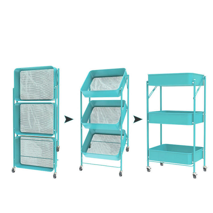 3 tier metal trolley Utility Rolling folding carts for bathroom kitchen push square foldable fruit storage baskets with 4wheel