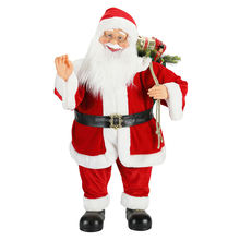80 cm Christmas Standing Animated Santa Claus with Lighting Musical Ornament Decoration Figurine doll adornos de navidad