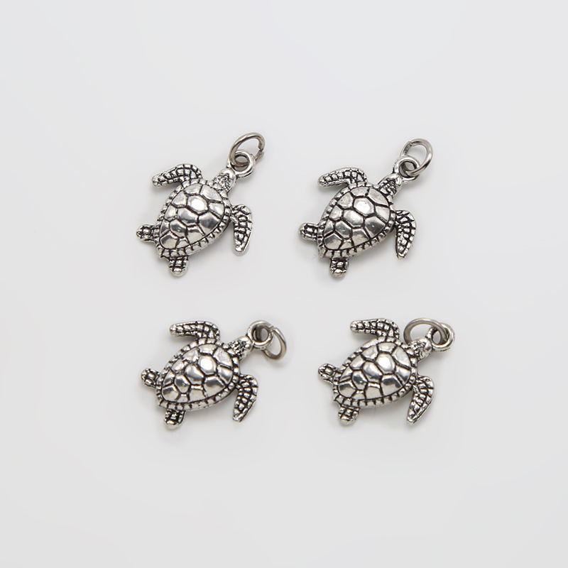 Sea Turtle Antique Silver plated Zinc Alloy Charm for DIY Jewelry Making 18x15mm