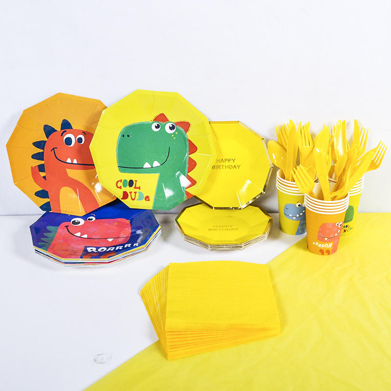 Custom Dinosaur Theme Birthday Party Supplies Disposable Tableware Set Children's Birthday Party Decoration Party Favor