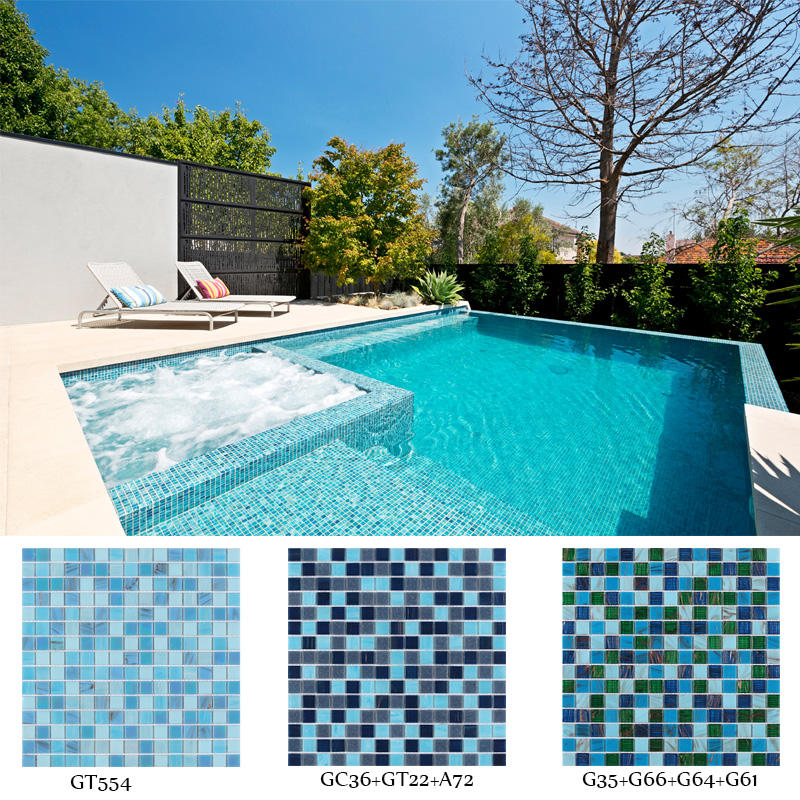 hot melt blue bright glass mosaic swimming pool tile