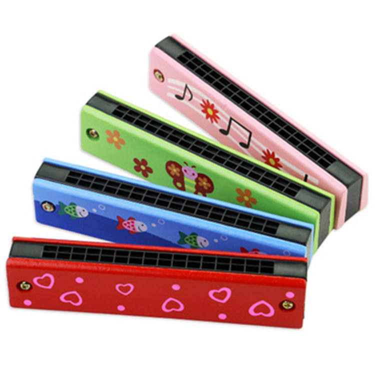 Hot Sale Kids Mini Wooden16 Holes double row Harmonica Musical Instruments early education creative toy WM392