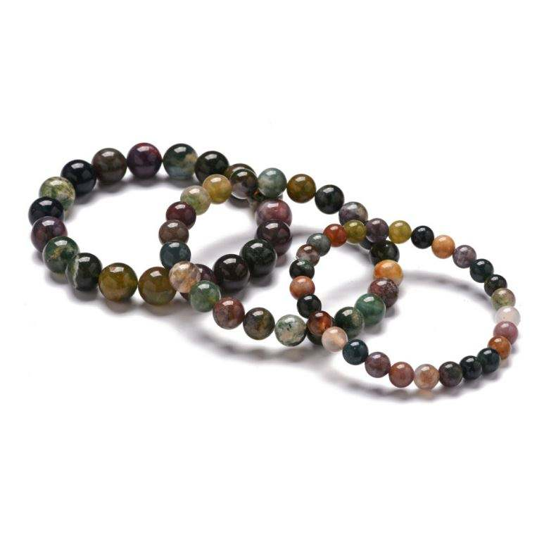 Fashion Simple Handmade Jewelry Elastic 6/8/10mm Natural Indian Agate Stone Strand Bracelet