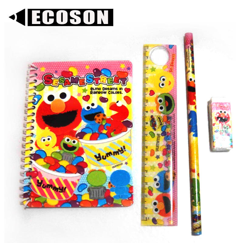 Wholesale Quality Promotion Fancy Cheap Notebook Ruler Pencil Eraser eco friendly stationery Students Kids Stationery Set School