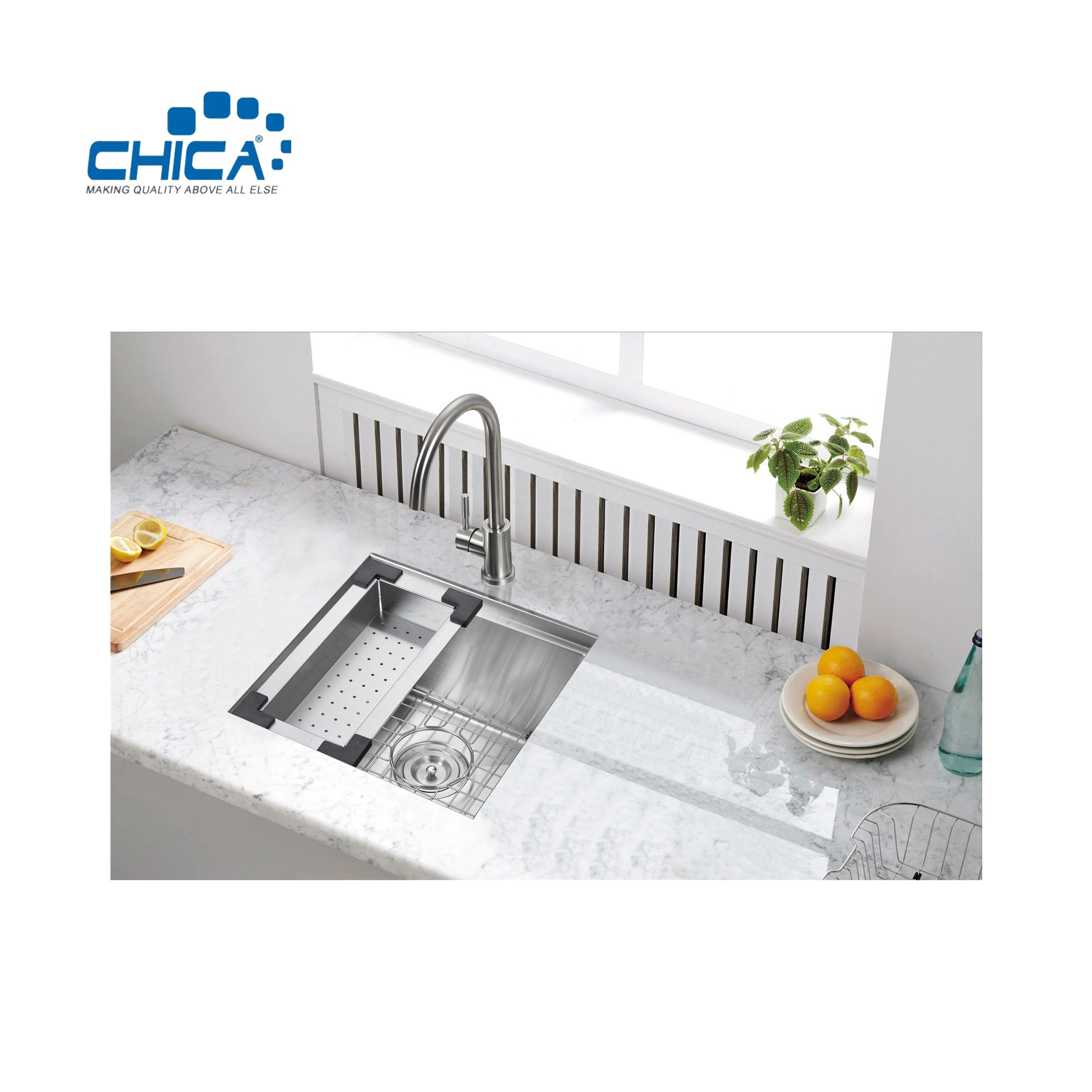 Undermount Single Bowl Handmade Stainless Steel Sink for House Kitchen