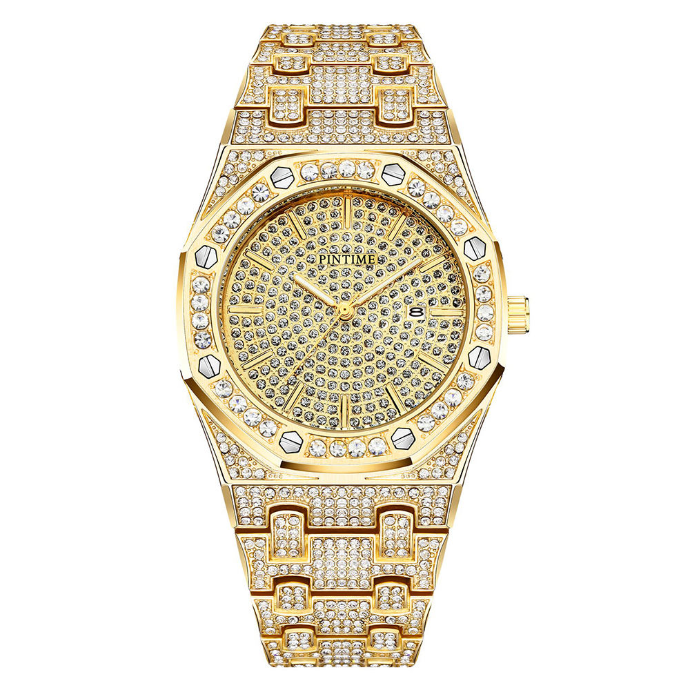 Bling Diamond Mens Watches Top Brand Luxury Steel Iced Out Watch Hip Hop Gold Female Male Clock relogio masculino reloj hombre