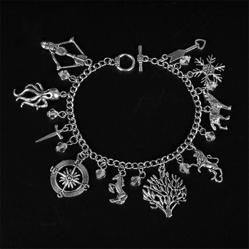 Fashion Classic Movie Jewelry the Game of Thrones Bracelets for Women Snow Wolf Lion Pendants Chain Bangles