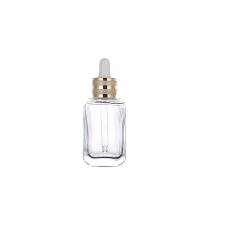 High Quality Fashion Style Empty High-end Glass Essence Liquid Square Bottle