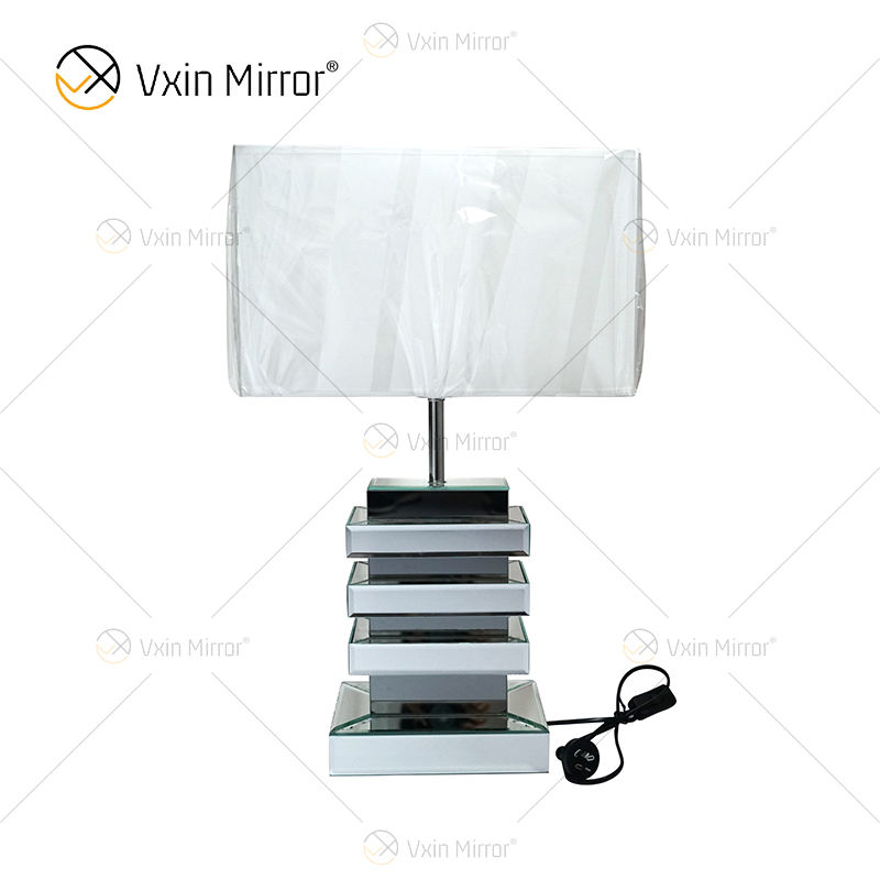 Wholesale WXL-001 Modern Silver Grey Mirrored Lamp Table White Shade For Bedroom