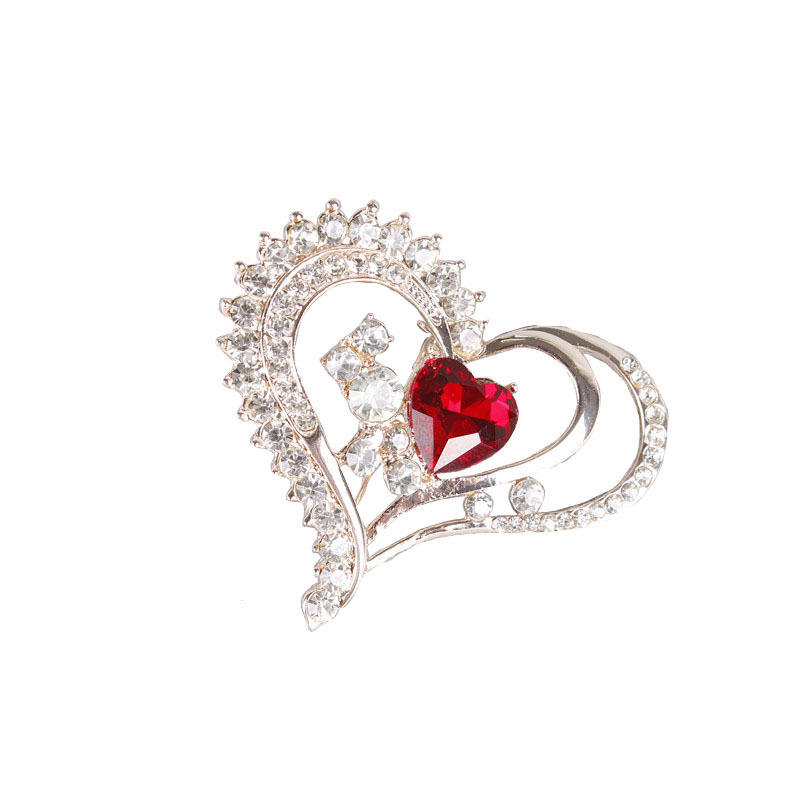 Romantic Love Heart Opal Flowers brooches for women wedding dress clothes buckles men suit corsage broach jewelry accessory