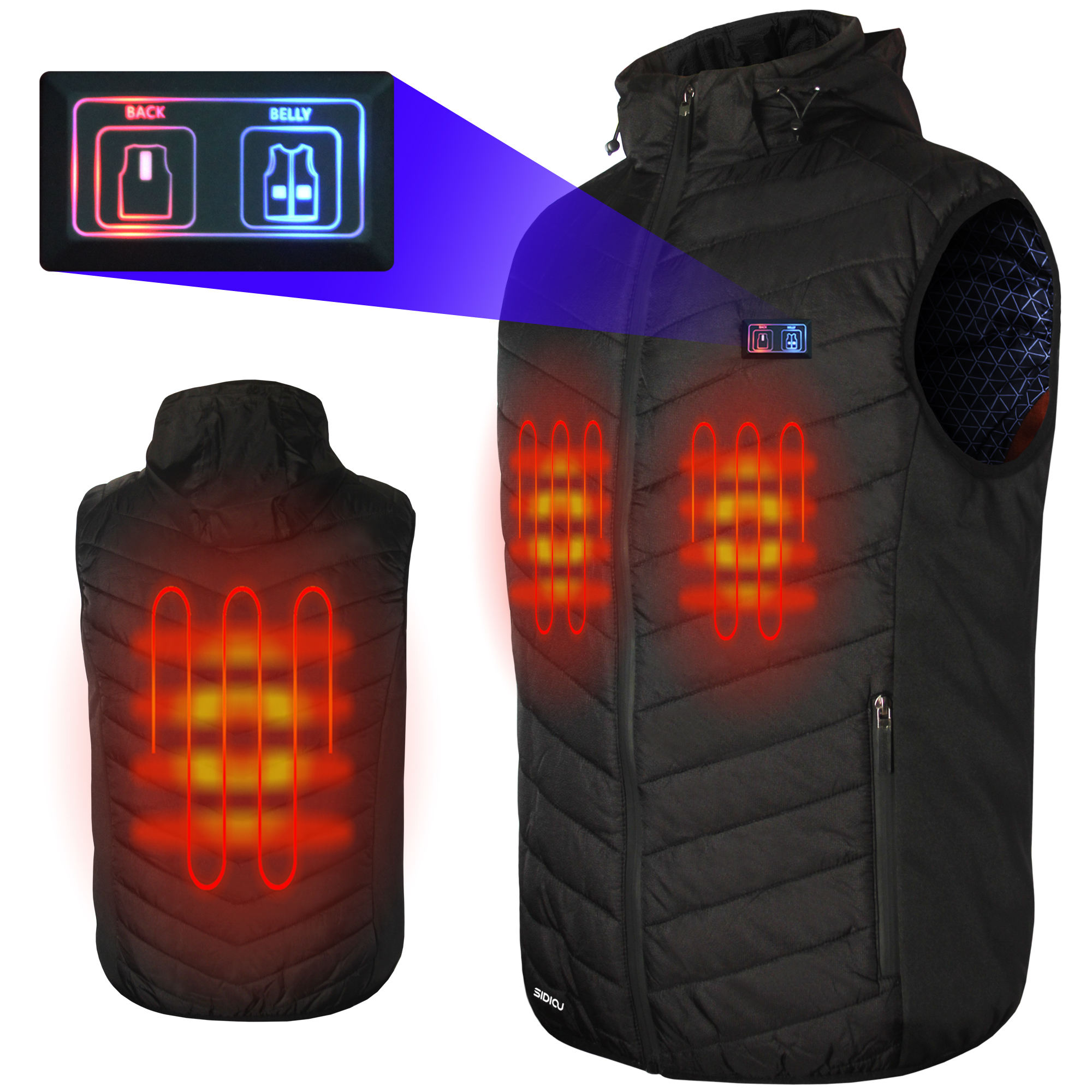 Sidiou Group USB Dual Switches Heating Hooded Gilet Warm Lightweight Adjustable Temperature Heated Vest Clothing Men