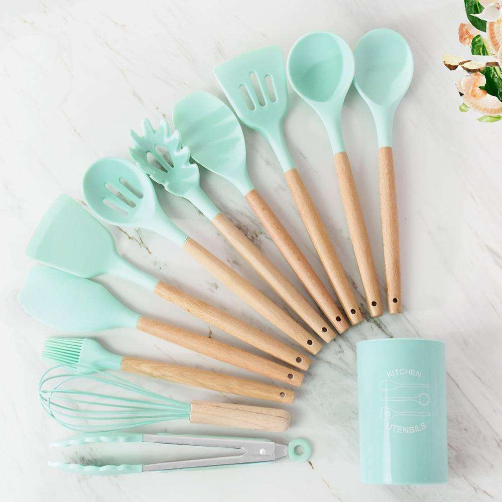 Amazon Heat Resistant Non-Stick silicone spatula kitchen accessories 11pcs cooking tools kitchen utensils set with Wooden Handle