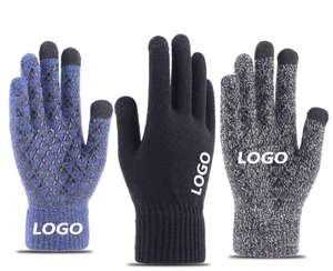 custom logo Winter Knit Gloves Touchscreen Warm Thermal Soft Elastic Cuff Texting Anti-Slip gloves for Women Men