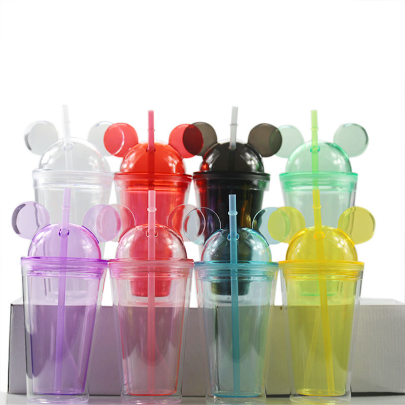 16oz double wall plastic tumbler with mickey mouse ear shape lid and straws portable water cups