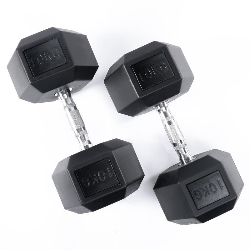 Cheap Buy Fitness Use 4/5/6/7/8/9/10 kg Weights Hex Rubber Dumbbell Set