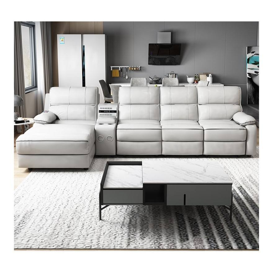 YASITE L Shape Italian Leather Sectional Modern Relinable Sofa with Multifunctional Function Living Room From China