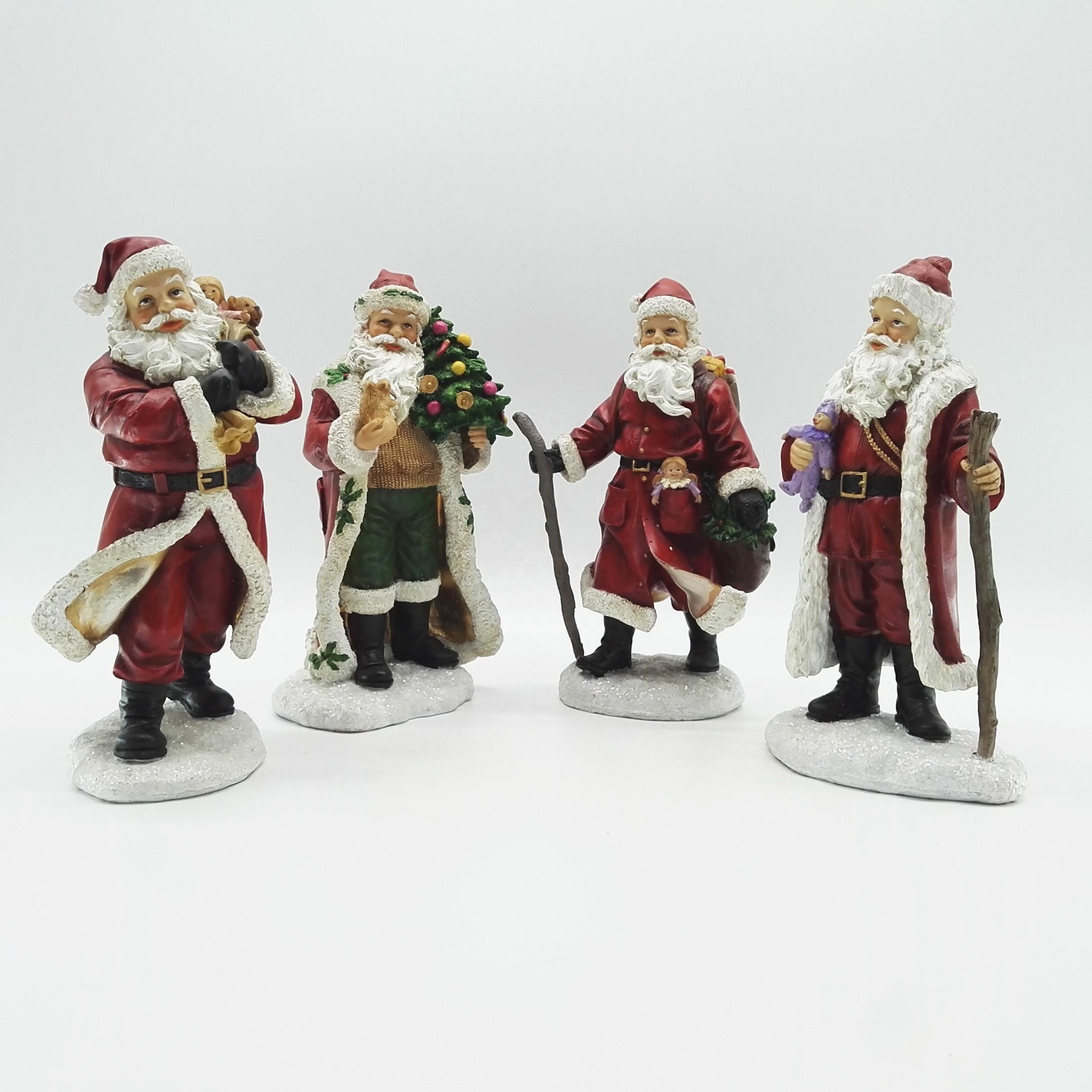 Wholesale 2020 new product Resin Holiday Red Antique tiny standing Santa Claus Figurine Christmas everyday home decor