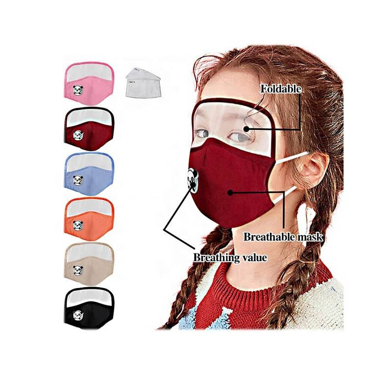 Kids face mouth maskes adjustable anti dust cartoon pattern reusable cotton face maskes with eyeshield child