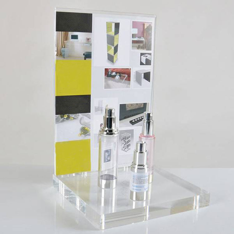 Replaceable Ad Poster A4 A5 A3 20mm 30mm Cosmetic Acrylic Display With Header