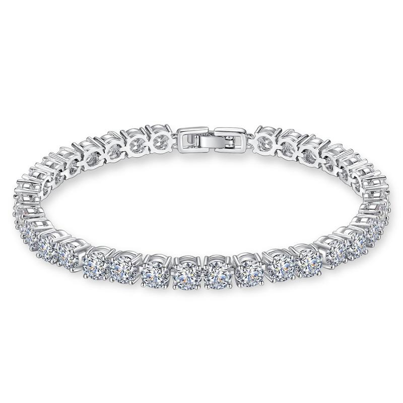 Simple solid gold 4.5mm DEF color VVS moissanite diamond tennis bracelet as gift