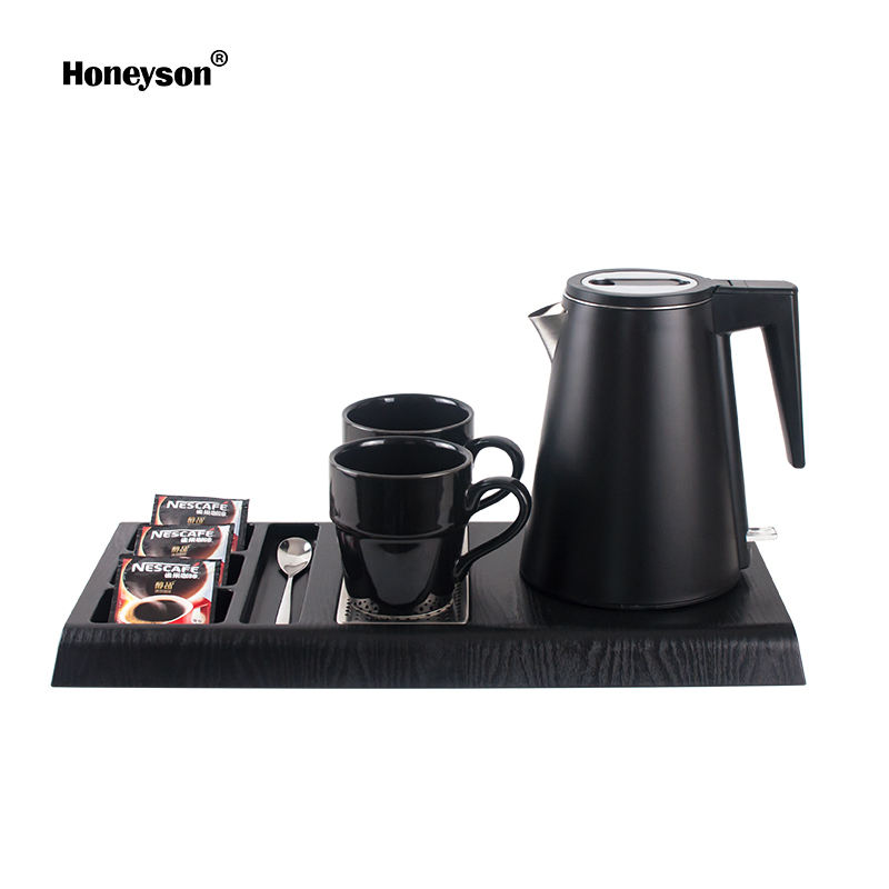 Honeyson new 0.8L black cordless electric kettle tray for hotel rooms