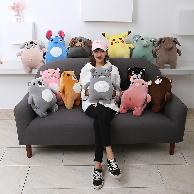 Wholesale 40cm stuffed hand warmer pillow cushion multi color cute cartoon animal plush bear pig stuff toys oem