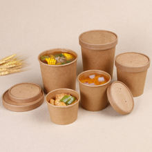 Custom printed disposable hot  Kraft Paper Soup Container Eco Friendly Paper Soup Cup