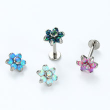 Titanium Internal Threaded Labret Earrings Cartilage Jewelry With 6 Petal Opal Flower Top
