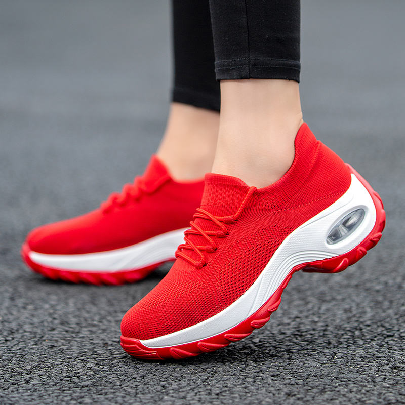 Tennis Shoes For Flying Woven Breathable Woman Sports Wedges Comfortable Platform Sneakers Women Zapatos De Mujer