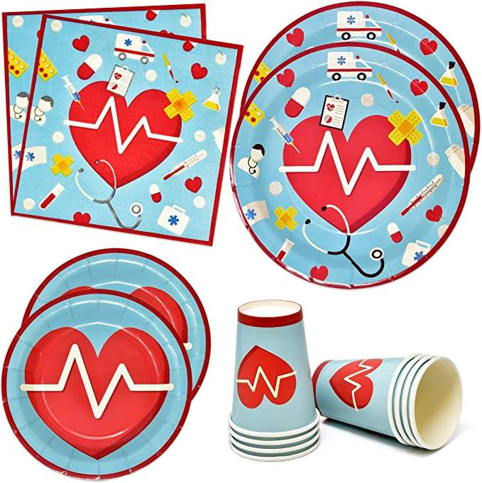 Doctor nurse theme party decoration supplies ambulance care disposable tableware set for paper plate napkin paper cup