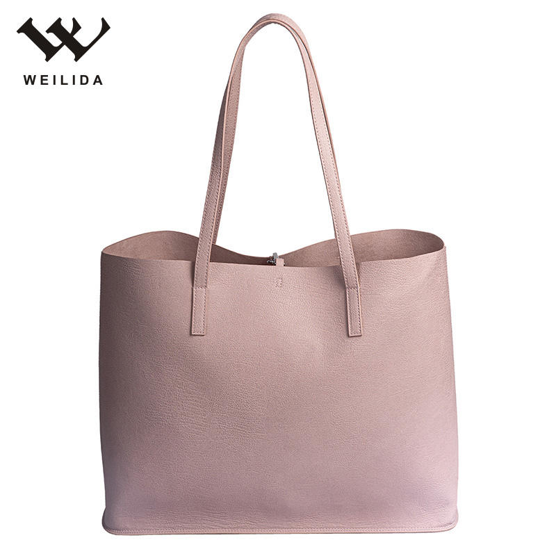 Popular Foldable Style Hand Bags PU Minimalist Practical Shopping Tote Woman Hand bags