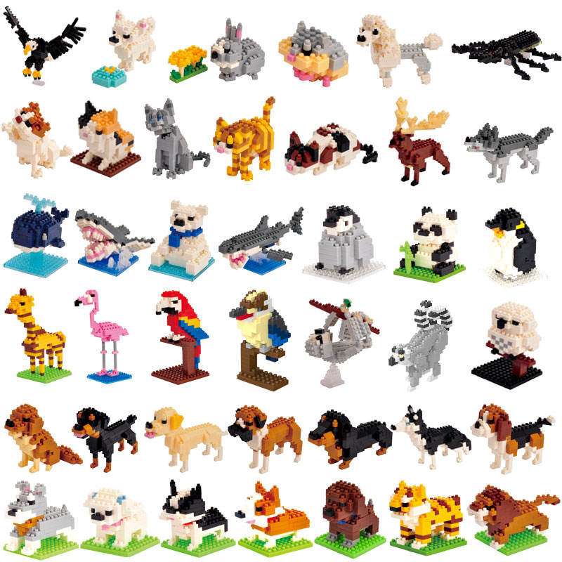 Wise Hawk ABS mini building block 40 different animal models small promotional toy