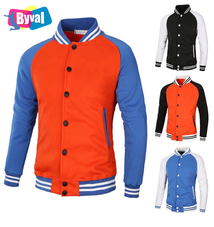 Byval Wholesale Unisex Custom Cotton Polyester Fleece Baseball Jackets High Quality Man Blank Varsity Jacket Mens Jackets Coats
