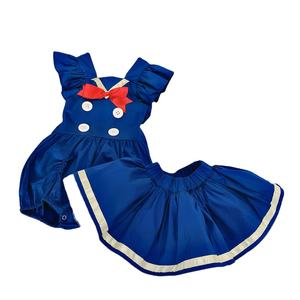 Hot Selling Children Clothes Set Girls Red Bows Decoration Dress Baby Party Gown Dress for Summer
